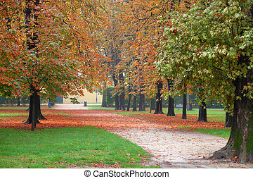 Autumn - Parma, Italy - Emilia-Romagna region. Ducale Park -...