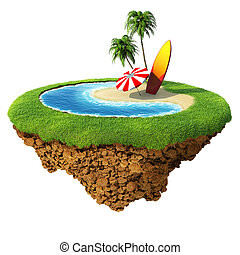 Surf on little planet - Concept for travel, holiday, hotel,...