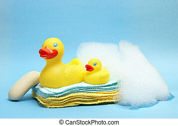 Bath Time - A group of rubber duckies and other bathing...