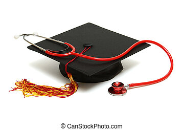 Medical Graduate - An isolated mortarboard and stethoscope...