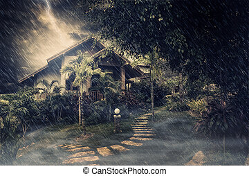 in dark - view of  misty summer house during stormy night