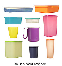 plastic container over white background. each shot...