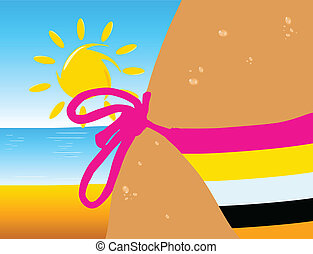 bikini color line on the beach illustration