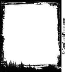 Black Brush Frame - Black brushstrokes form a graphic frame...