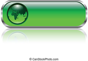 Blank web button - Blank green web button with earth globe...