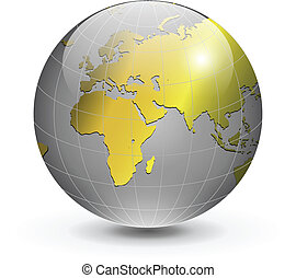 Globe of the world gold - Gold globe of the world, vector...
