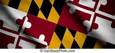 Maryland - High detailed waving flag of different countries...