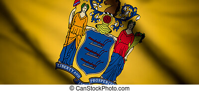 New Jersey - High detailed waving flag of different...