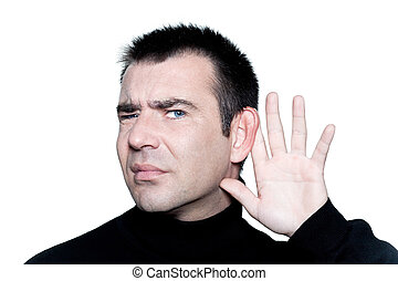 man gesturing with hearing aid speak up - caucasian man...