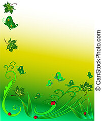 Background - Leave, butterflies and ladybugs in a green...