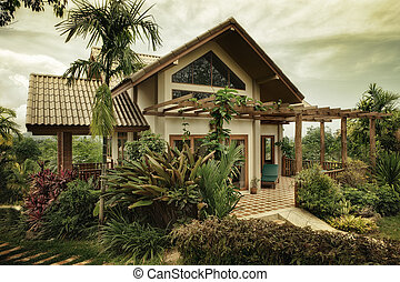 villa - View of nice stylish summer villa in tropic...