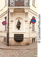 Old street in Riga - Old street with beautiful sculpture and...