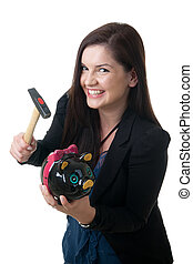 woman coinbank hammer smile - a young adult woman holding a...