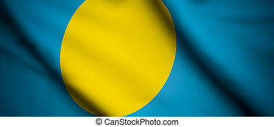 Palau - High detailed waving flag of different countries...