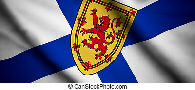 Nova Scotia - High detailed waving flag of different...