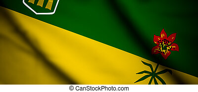 Saskatchewan - High detailed waving flag of different...