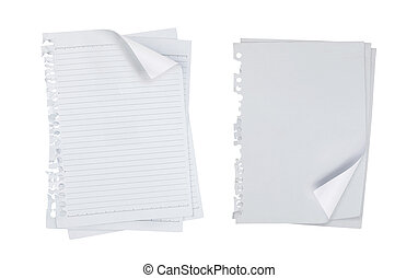 blank note paper over white background