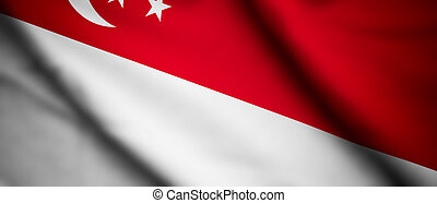 Singapore - High detailed waving flag of different countries...