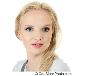 Young blonde woman face - Attractive young blond woman face...