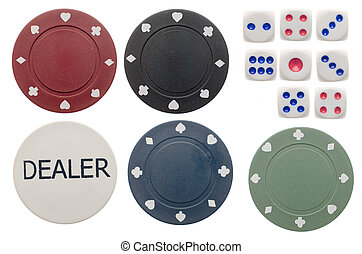 Poker chips and dice - Top view of poker chips and dice...