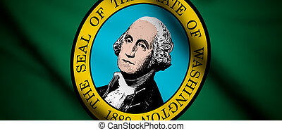 Washington - High detailed waving flag of different...