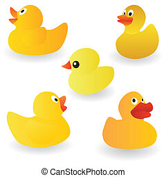 duck - vector set of yellow rubber duck on the white...