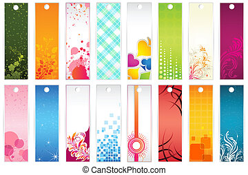 Set of Bookmark - illustration of set of colorful floral...