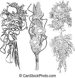 wedding bouquet set - doodle wedding bouquet set - black and...