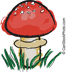 toadstool - red toadstool in grass, white background