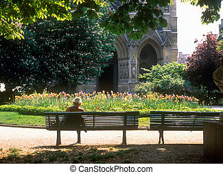 Contemplation. - Spring in Paris. Senior woman sitting on...