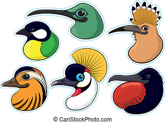 Birds 4 - Series of colourful bird heads set as fridge...