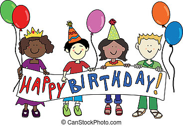 Multicultural birthday kids - Happy multicultural cartoon...