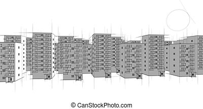 housing estate in the evening and s