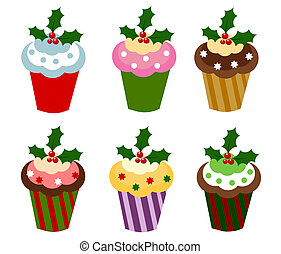 Christmas cupcakes - Set of six colorful Christmas cupcakes...