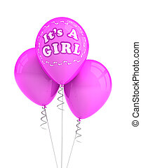Its a girl party balloons - Pink party balloons celebrating...