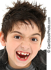 Crazy Face Close Up Child - Hilarious 8 year old boy making...