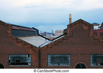 Warehouse rooftops.