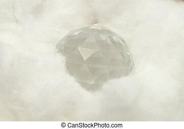 vidro, bola, algodão