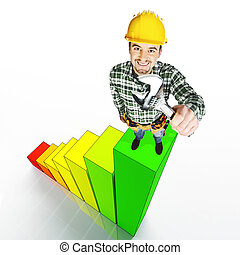handyman on stat - smiling manual worker standing on 3d...