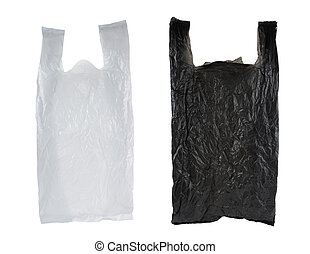 black and white plastic bag, isolated over white background