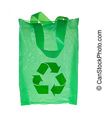 green plastic bag with recycle symbol isolated over white...