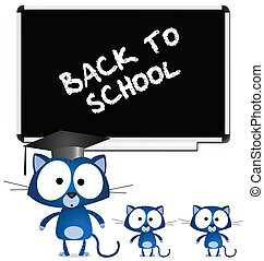 Cat teacher and pupils back to school