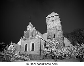 Country church in winter night