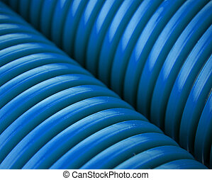 Blue plastic pipes
