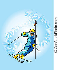 Lowering skier - This is skier lowering from high mountain