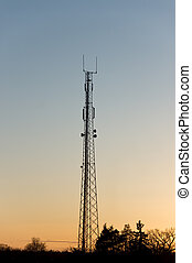 Telecommunication tower - Silhouette of telecommunication...