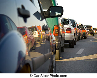 Traffic congestion - Cars in line at traffic congestion