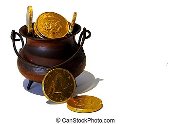pot o' gold - antique pot filled with gold coins.