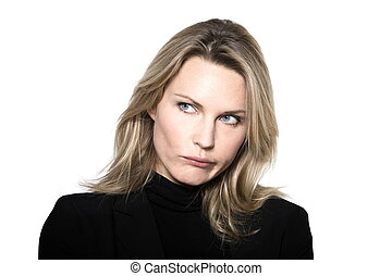 woman portrait mistrust frown confused studio - beautiful...