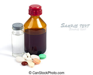 medicines, tablets of different colors on a white background...